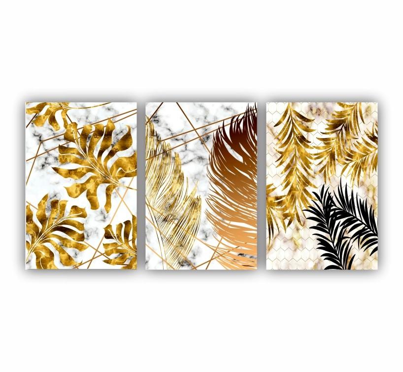 Quadro Abstrato  Folhas Douradas - Kit 3 telas