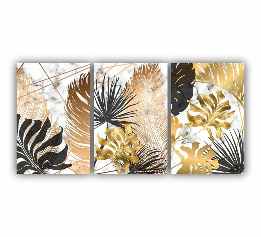 Quadro Abstrato Folhas Dourado e Preto - Kit 3 telas