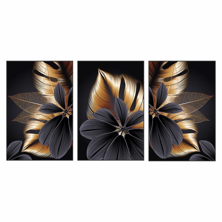 Quadro Abstrato Folhas Dourado e Preto Luxo - Kit 3 telas