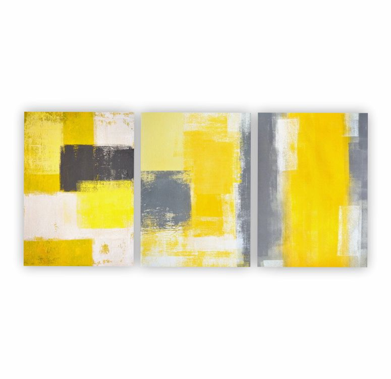 Quadro Abstrato Geométrico Amarelo e Cinza Contemporâneo  - Kit 3 telas