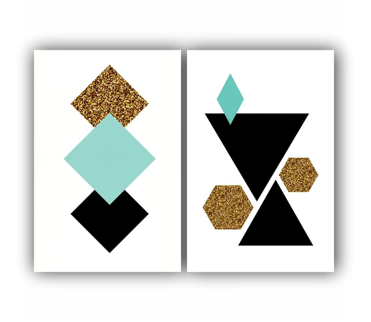 Quadro Abstrato Geométrico Azul Preto e Dourado com Glitter - Kit 2 telas