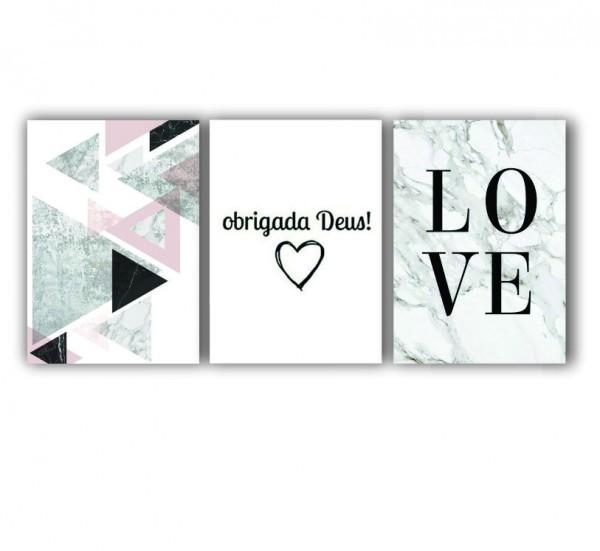 Quadro Abstrato Geométrico Cinza Love Moderno - Kit 3 telas