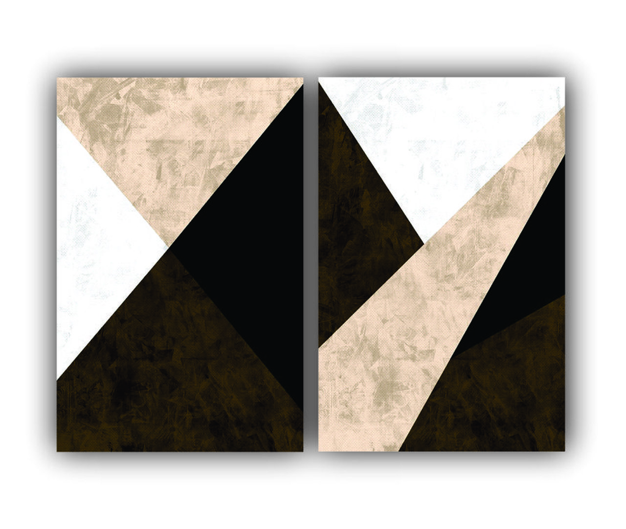 Quadro Abstrato Geométrico Marrom com Textura Moderno - Kit 2 telas