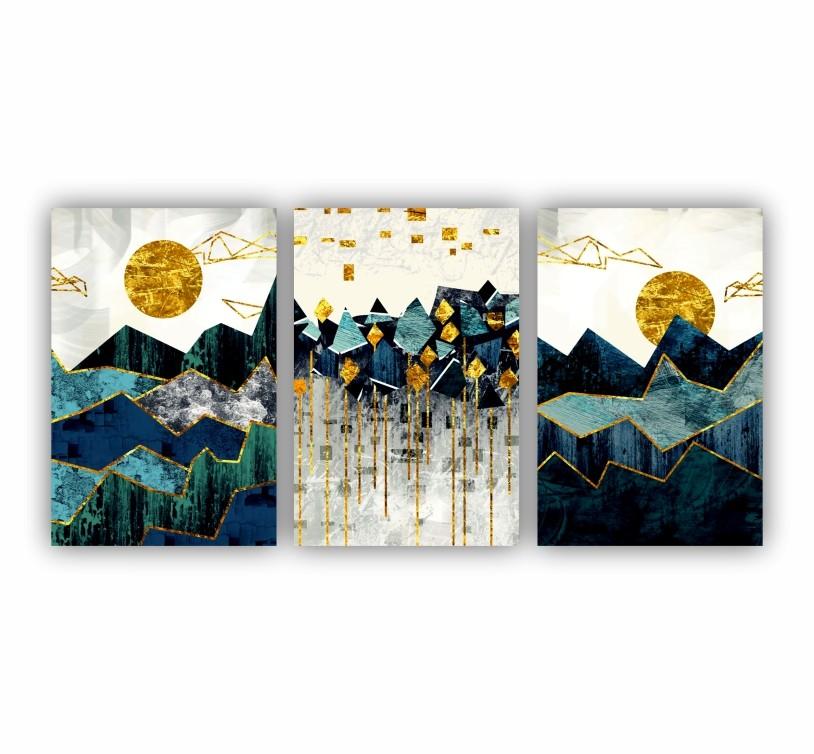 Quadro Abstrato  Geométrico Montanhas Azul e Dourado - Kit 3 telas