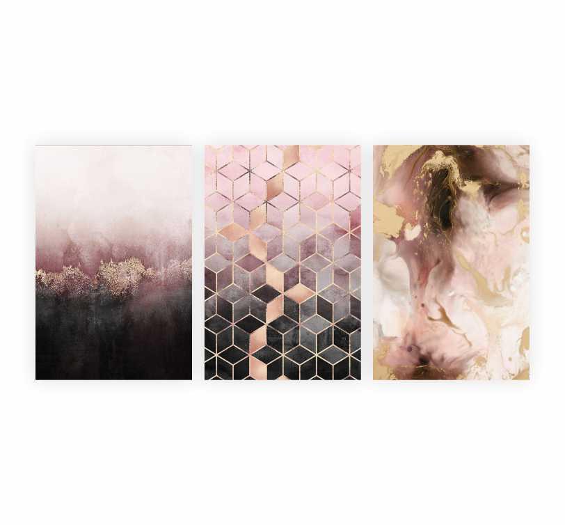 Quadro Abstrato  Geométrico Rosa - Kit 3 telas