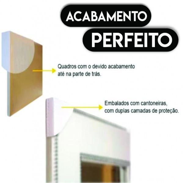 Quadro Abstrato  Geométrico Rosa Preto com Flores  - Kit 3 telas