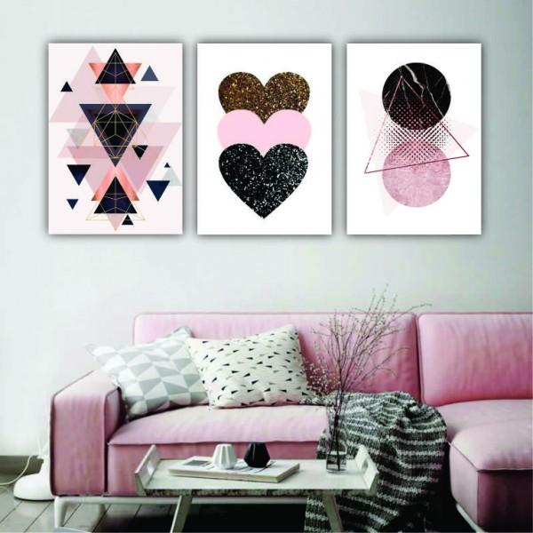 Quadro Abstrato  Geométrico Rosa Preto e Dourado Coração  - Kit 3 telas