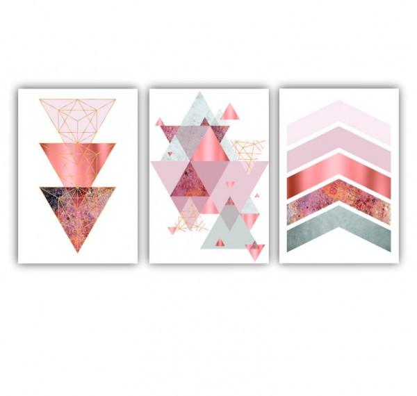 Quadro Abstrato Geométrico Rose Branco Clean - Kit 3 telas