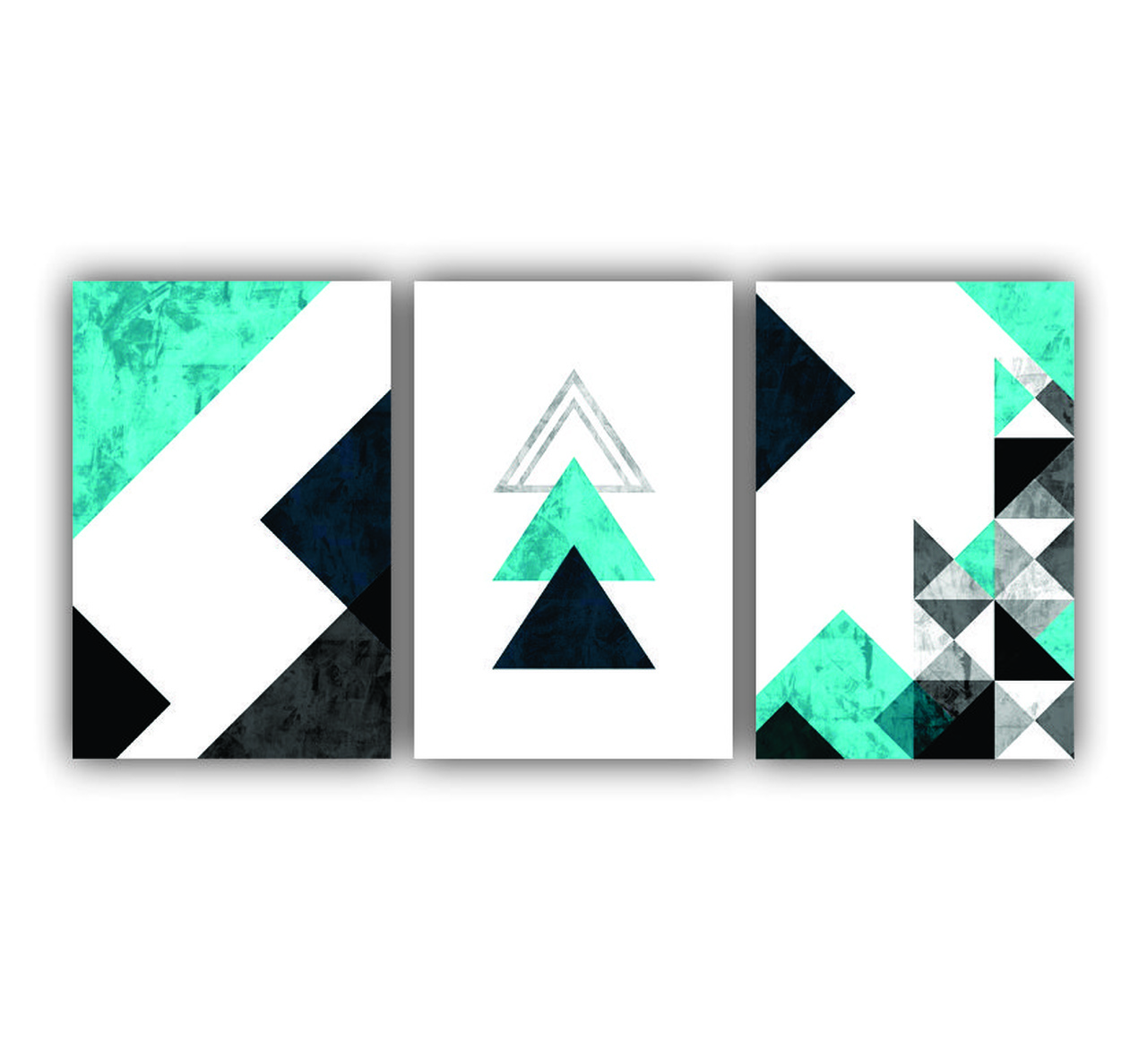 Quadro Abstrato Geométrico Tons de  Azul Com Preto e  Branco  - Kit 3 telas