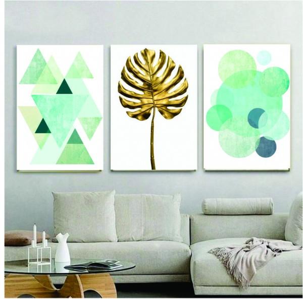 Quadro Abstrato Geométrico Verde com Dourado  - Kit 3 telas