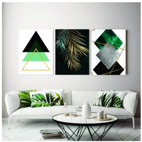 Quadro Abstrato Geométrico Verde Preto e folhas  - Kit 3 telas