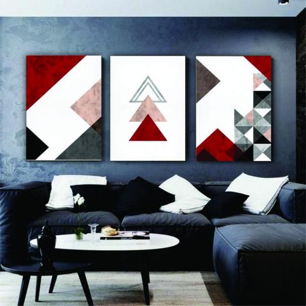 Quadro Abstrato Geométrico Vermelho Marsalla - Kit 3 telas