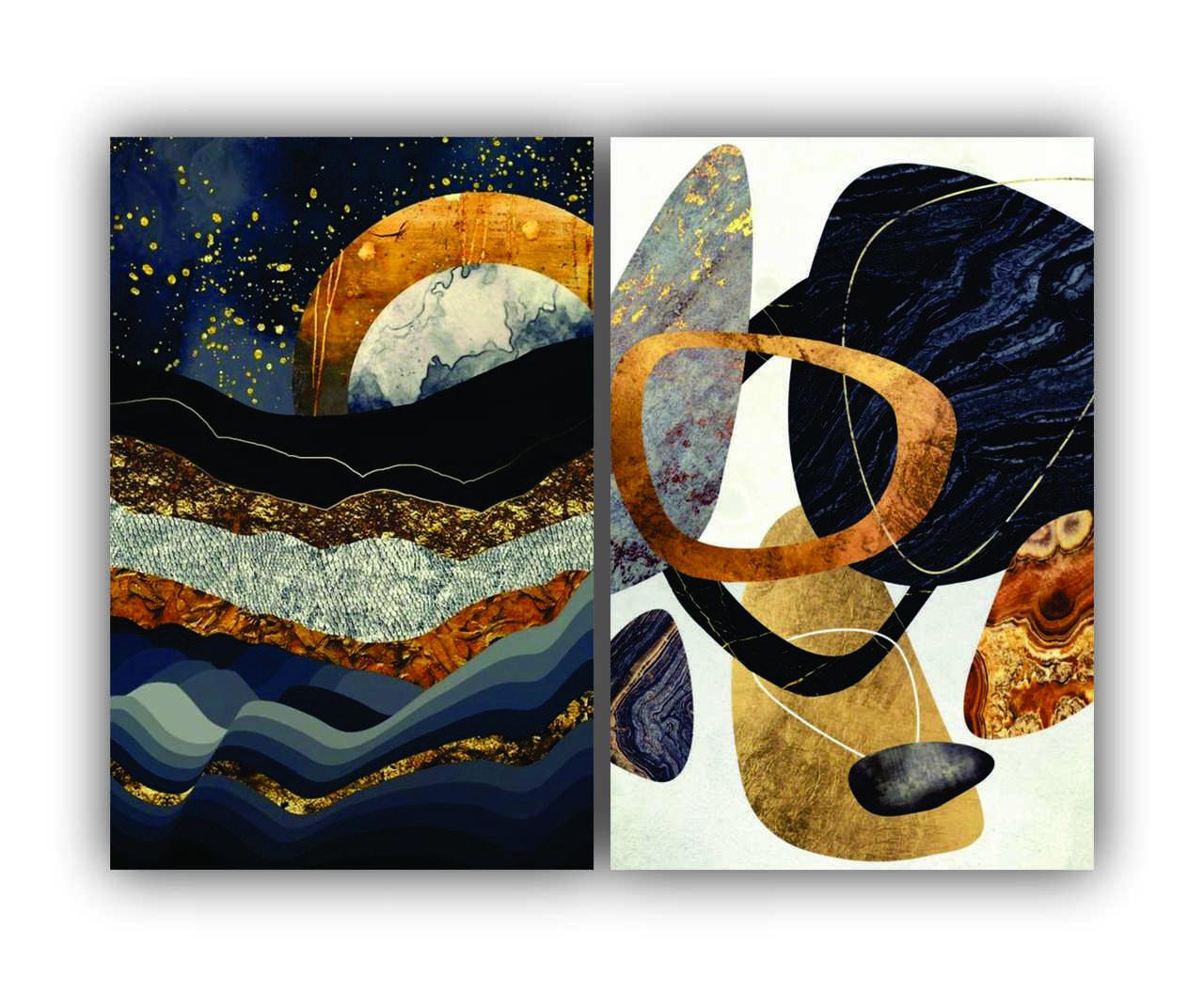 Quadro Abstrato Luxo Azul e Dourado Luxo-  Kit 2 telas