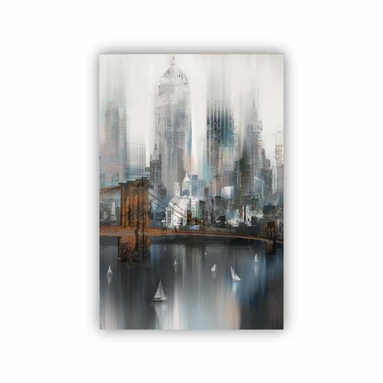 Quadro Abstrato Luxo Ponte  New York - Tela Única