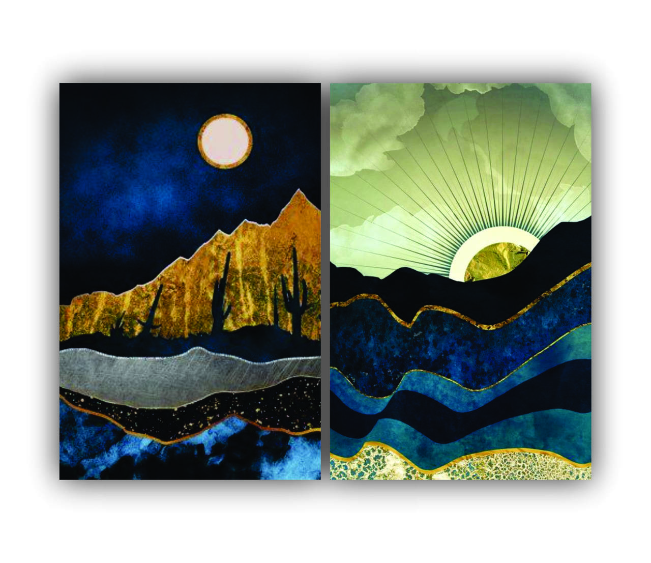 Quadro Abstrato Luxo Pôr do Sol Azul e Dourado -  Kit 2 telas