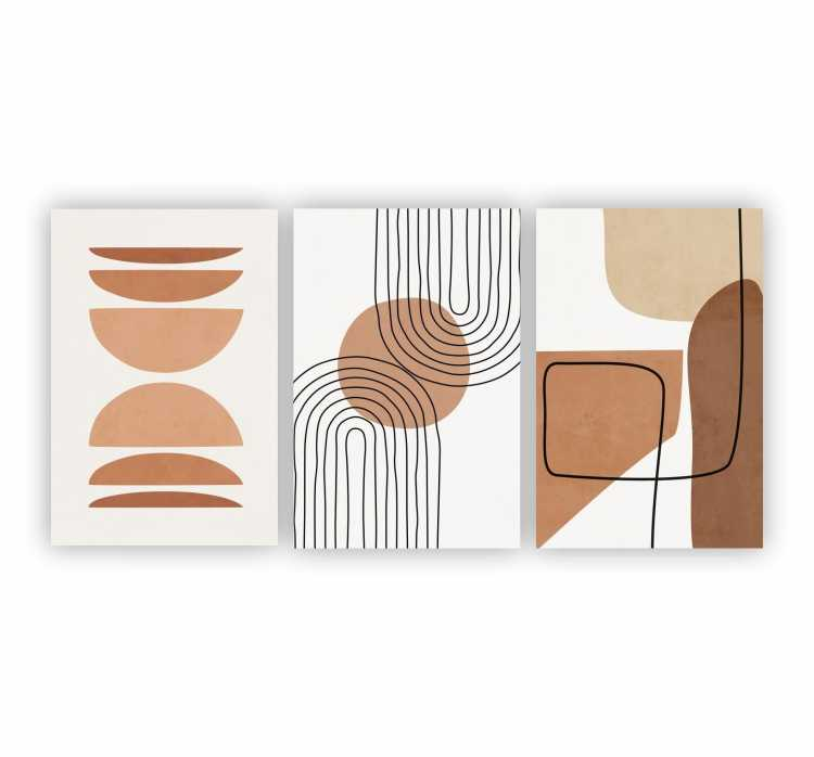 Quadro Abstrato  Marrom Nude Boho Decor 2  - Kit 3 telas