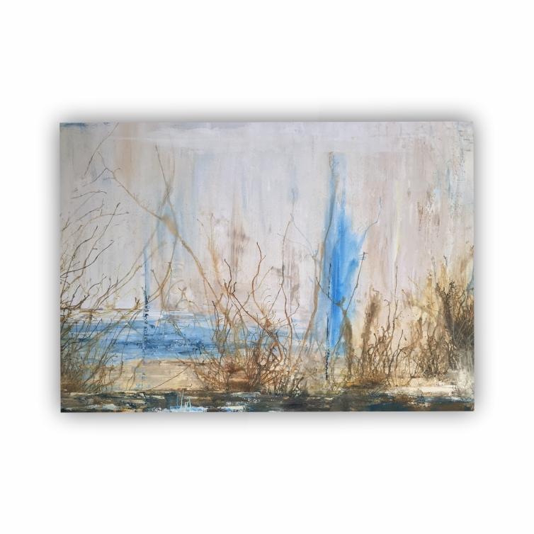 Quadro Abstrato Moderno Azul Natural Luxo - Tela Única