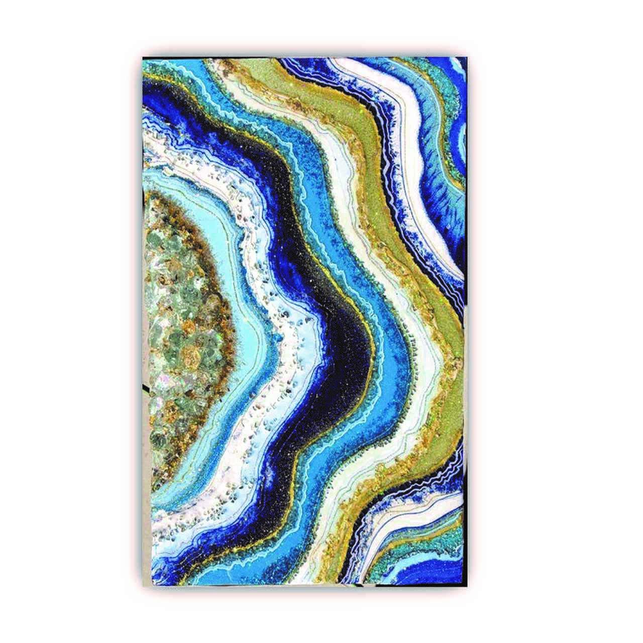 Quadro Abstrato Oceano Linhas em Ouro - Tela Única
