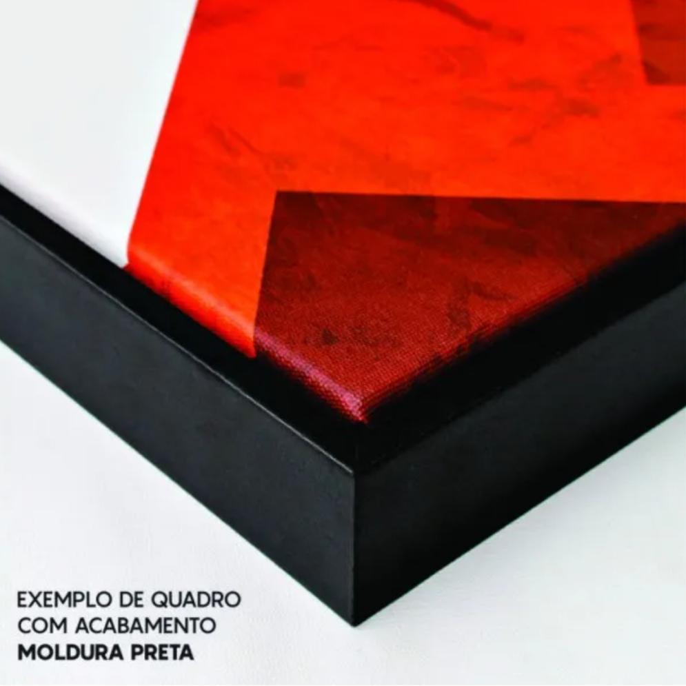 Quadro Abstrato Preto e Dourado Luxo - Tela Única