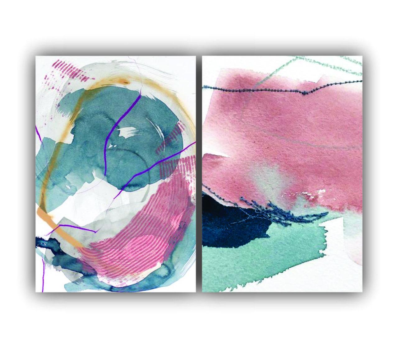 Quadro Abstrato Rosa e Azul Luxo -  Kit 2 telas