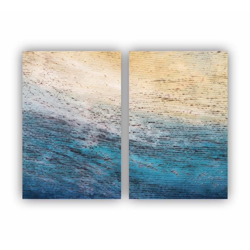 Quadro Abstrato Textura Azuis Oceano New - Kit 2 telas