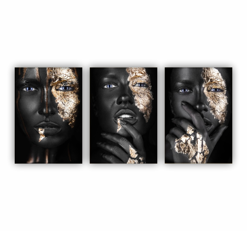 Quadro Africa Mulher Black and Gold  - Kit 3 telas