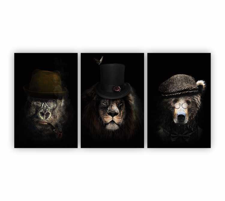 Quadro Animais Mafiosos - Kit 3 telas