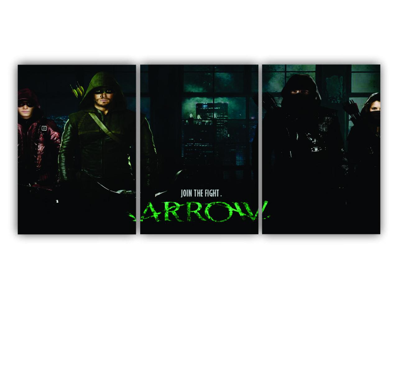 Quadro Arqueiro Verde  Arrow - Kit 3 telas