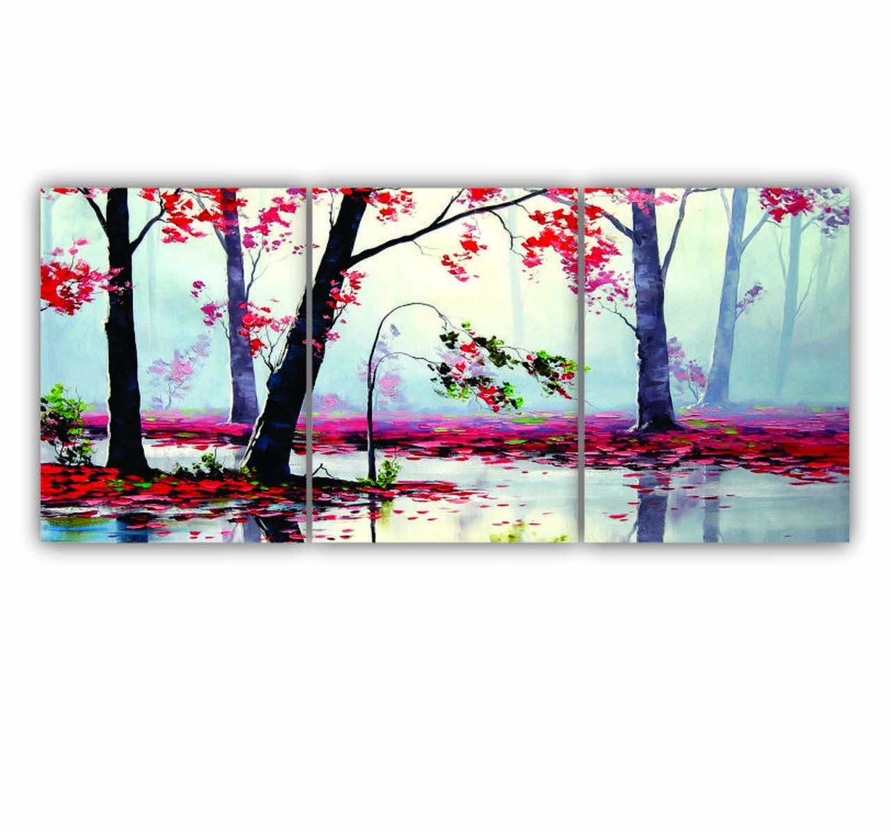 Quadro Árvores e Folhas Vermelhas Outono  - Kit 3 telas