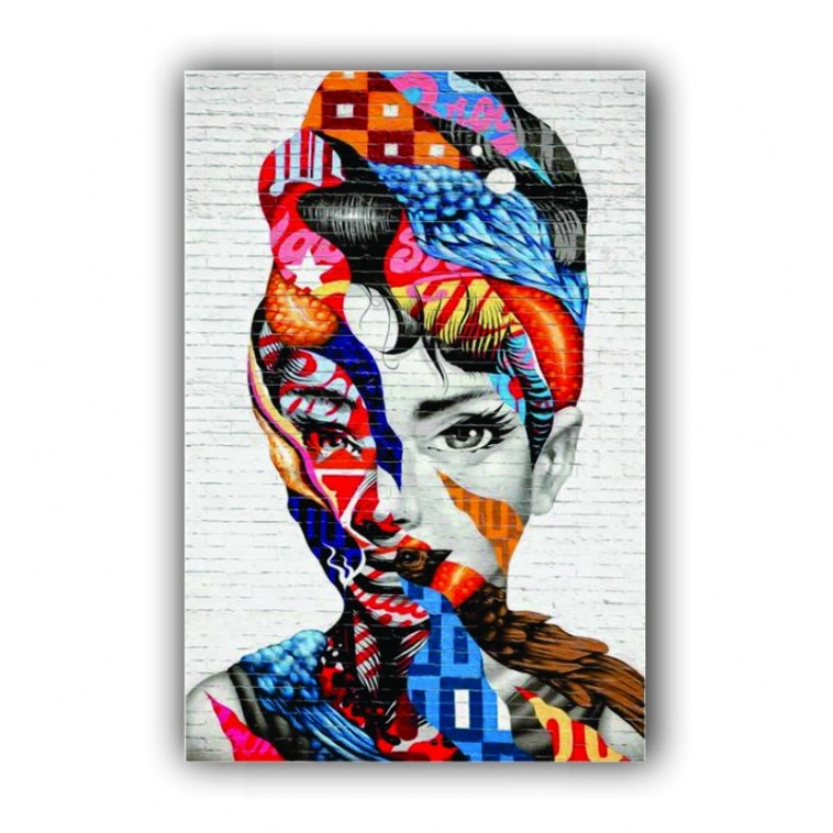 Quadro Audrey Hepburn Street Cor Vibrante - Tela Única
