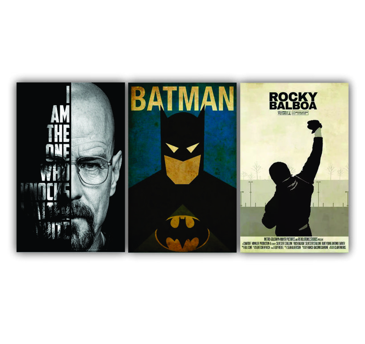 Quadro Batman Balboa Breaking Bad - Kit 3 telas