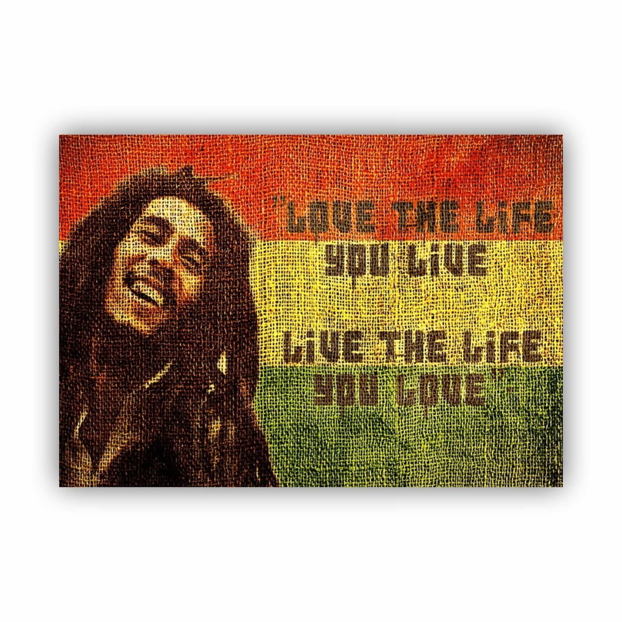 Quadro Bob Marley Bandeira Frase - Tela Única