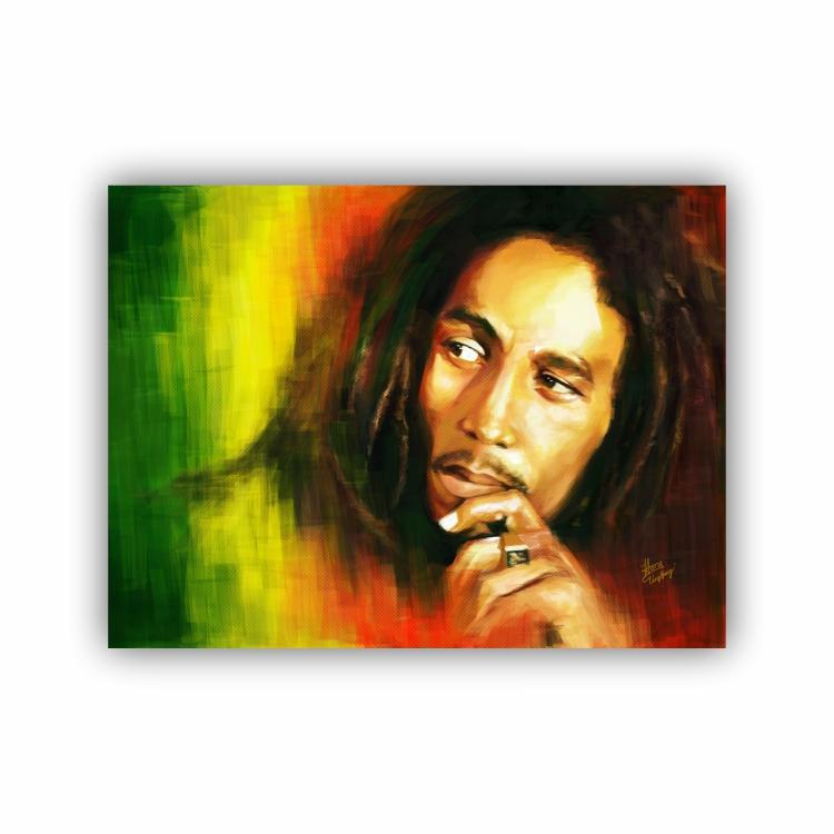 Quadro Bob Marley Reggae Cores - Tela Única
