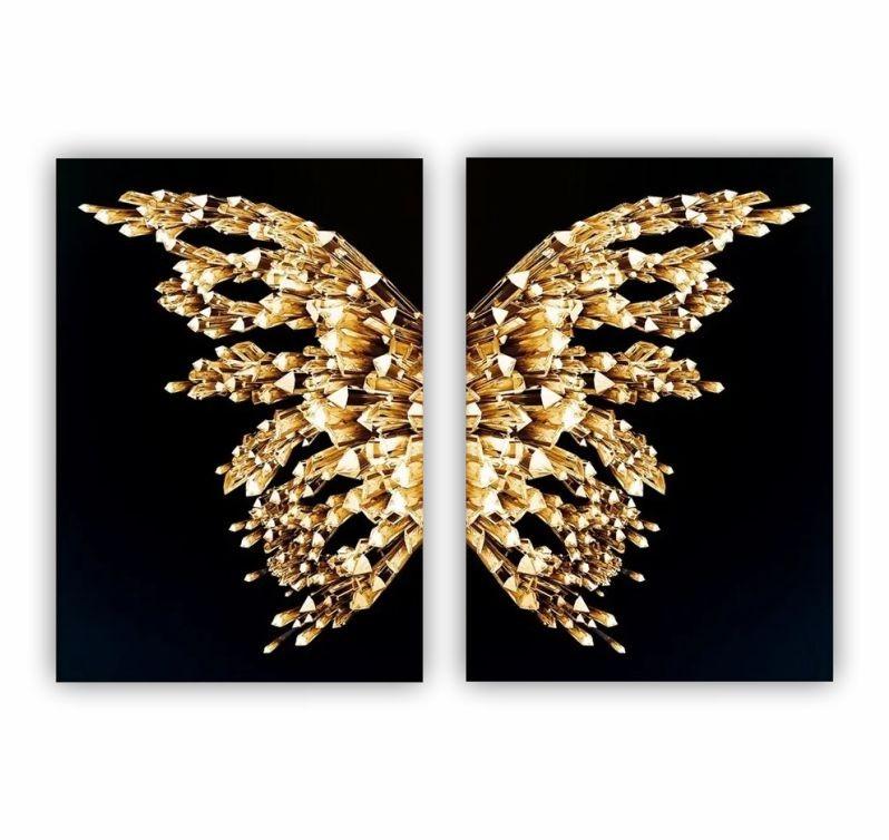 Quadro Borboleta Dourado e Preto -  Kit 2 telas