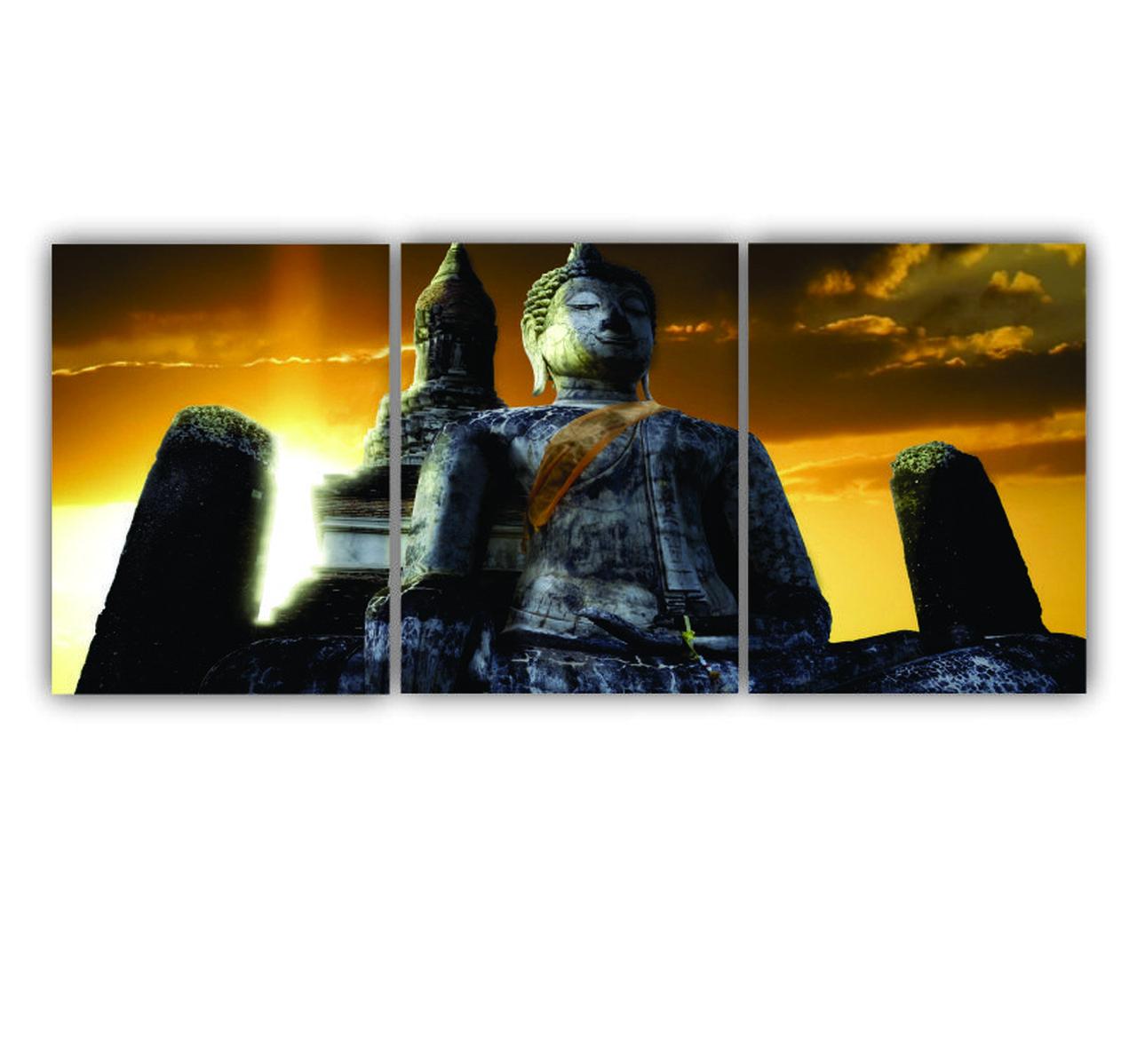 Quadro Buda Cores Intensas Luxo - Kit 3 telas