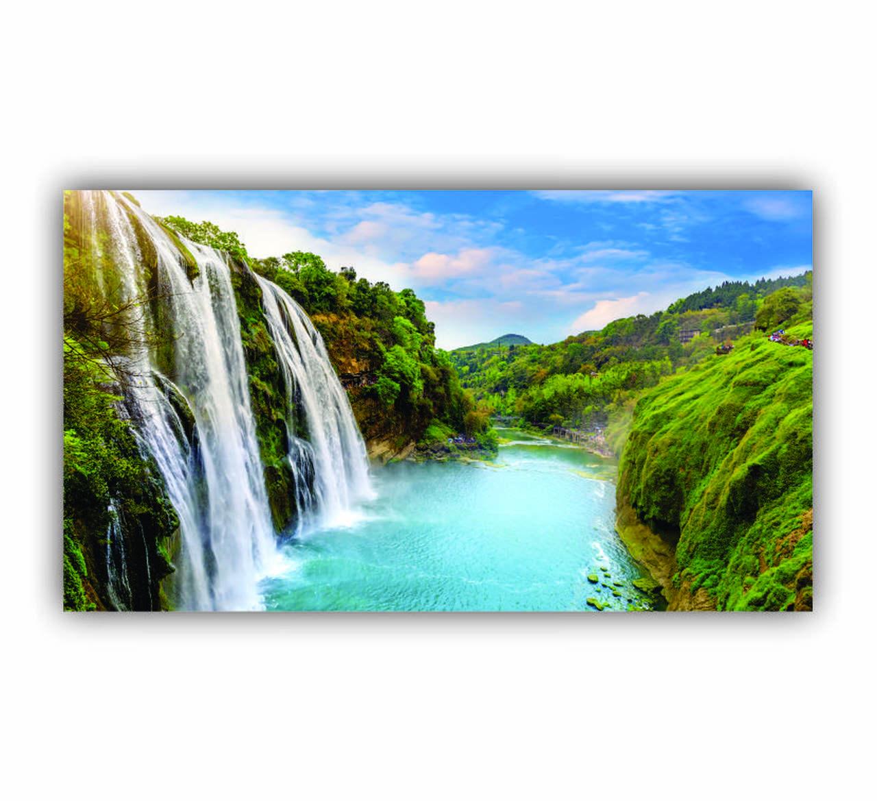 Quadro Cachoeira Ensolarada Luxo - Tela Única