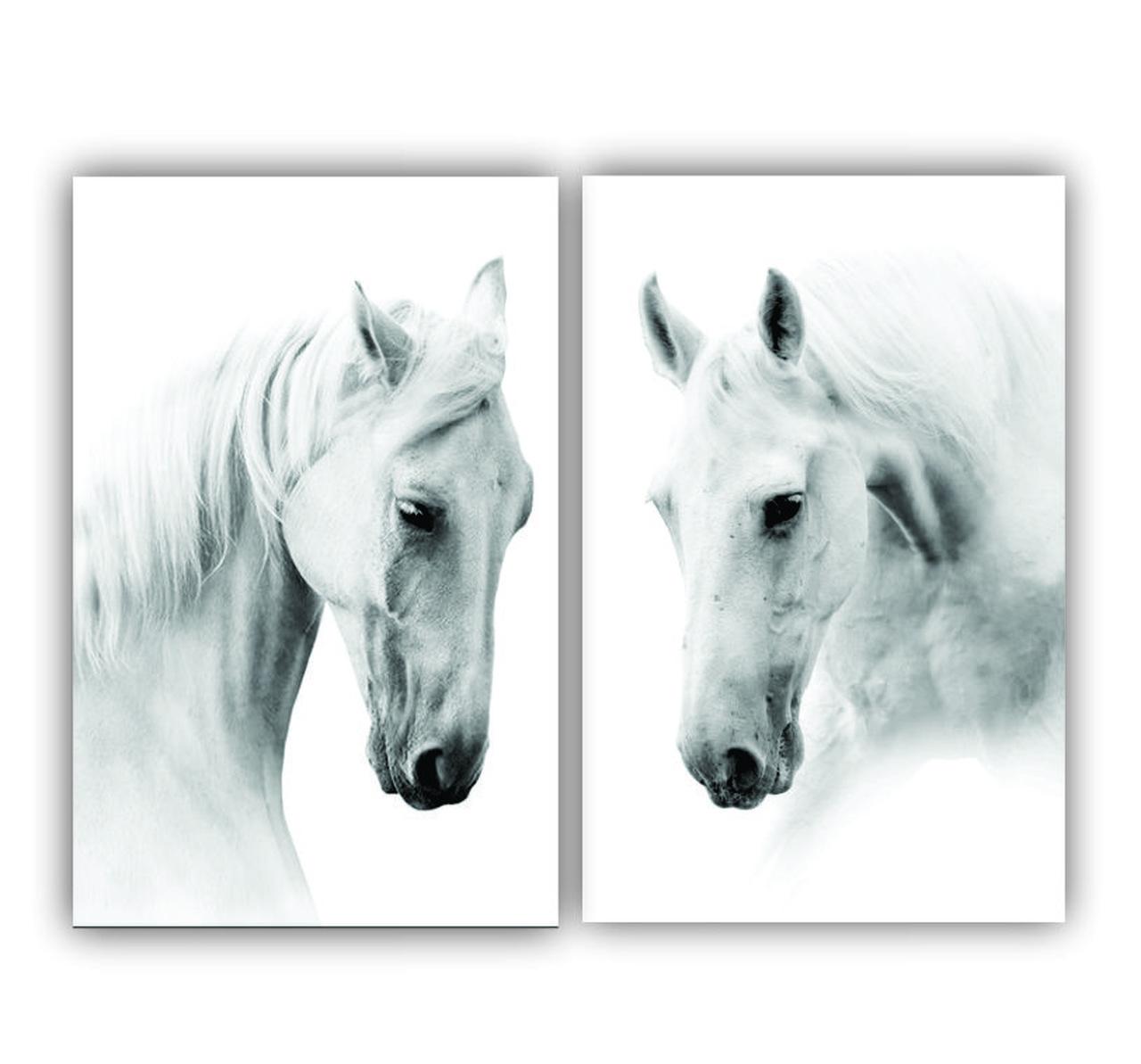 Quadro  Cavalo Branco Duplo-  Kit 2 telas