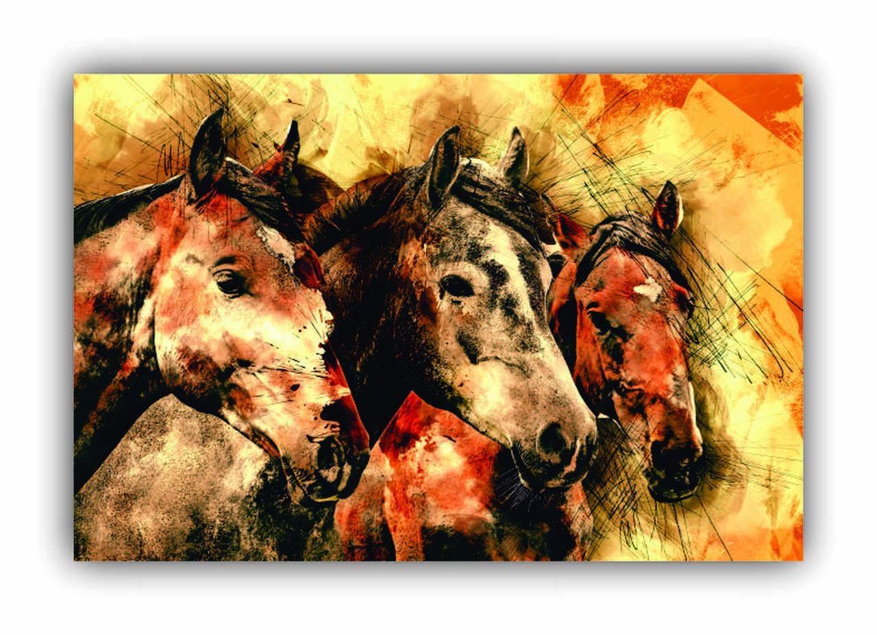 Quadro Cavalos Clássico Montaria - Tela Única
