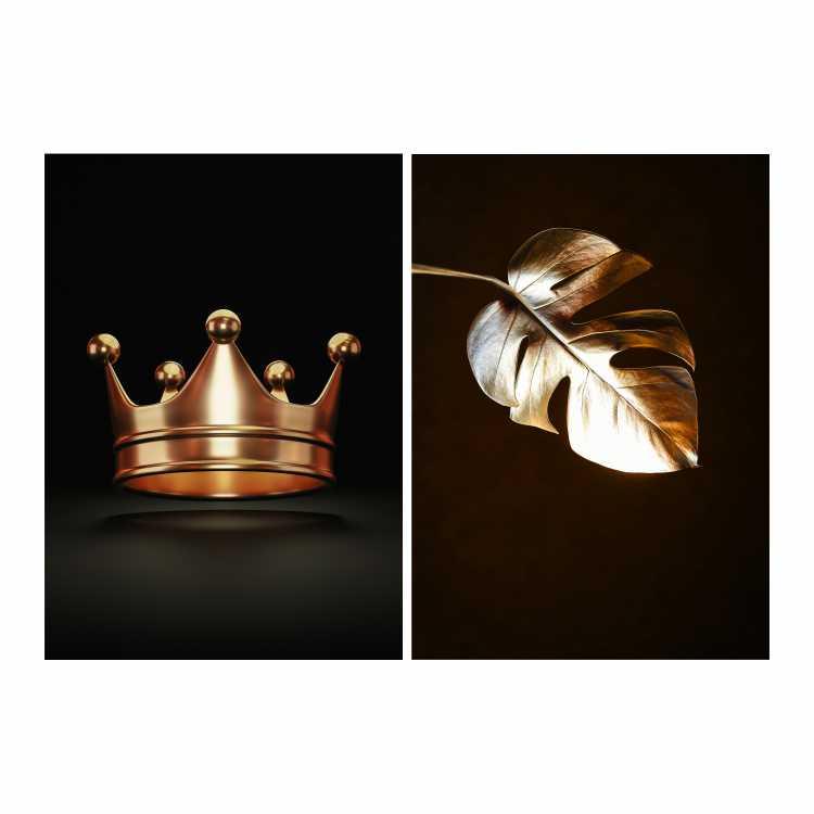 Quadro Coroa e Folha Preto e Dourado -  Kit 2 telas