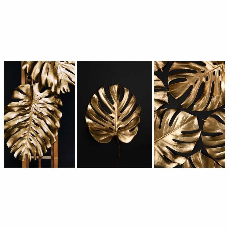 Quadro Costela de Adão Preto e Dourado - Kit 3 telas
