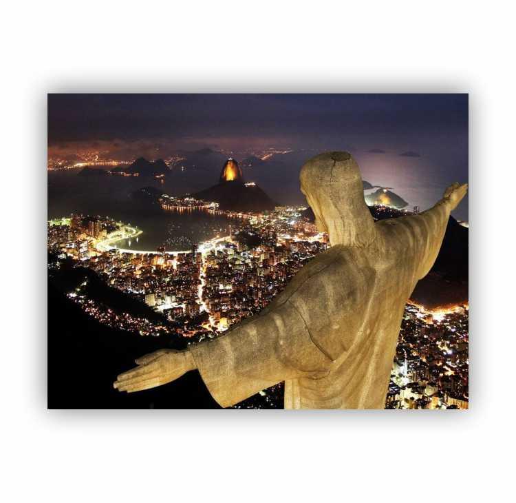 Quadro Cristo Redentor Noite Luxo - Tela Única
