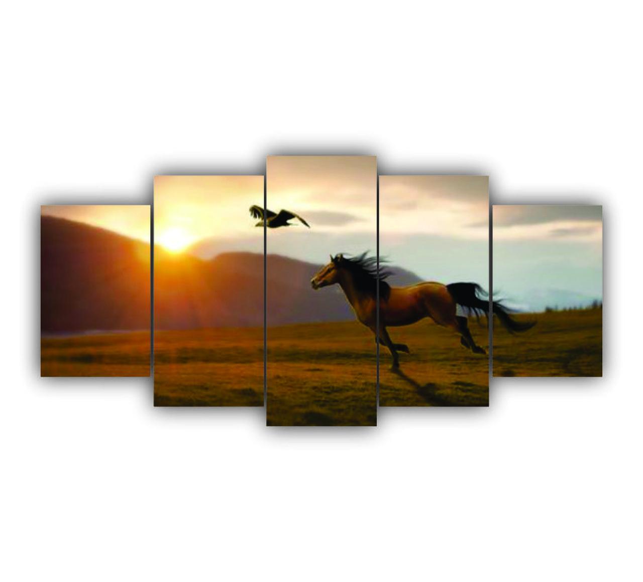 Quadro Decorativo Cavalo Paisagem Campo Liberdade - 5 Telas