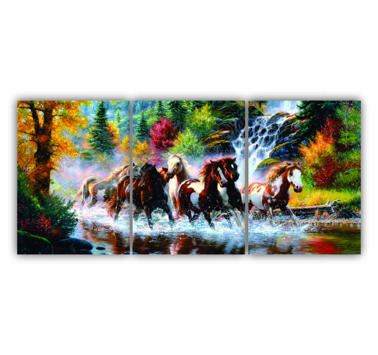 Quadro Decorativo Cavalos na Floresta - Kit 3 telas