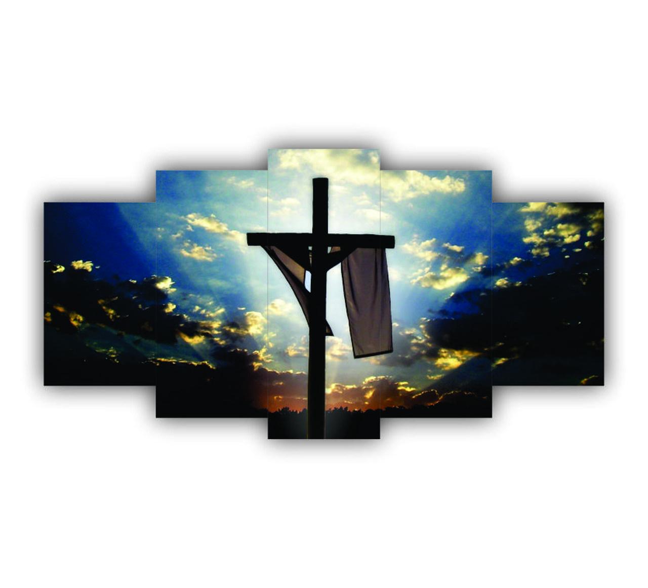 Quadro Decorativo Cruz Jesus - 5 Telas