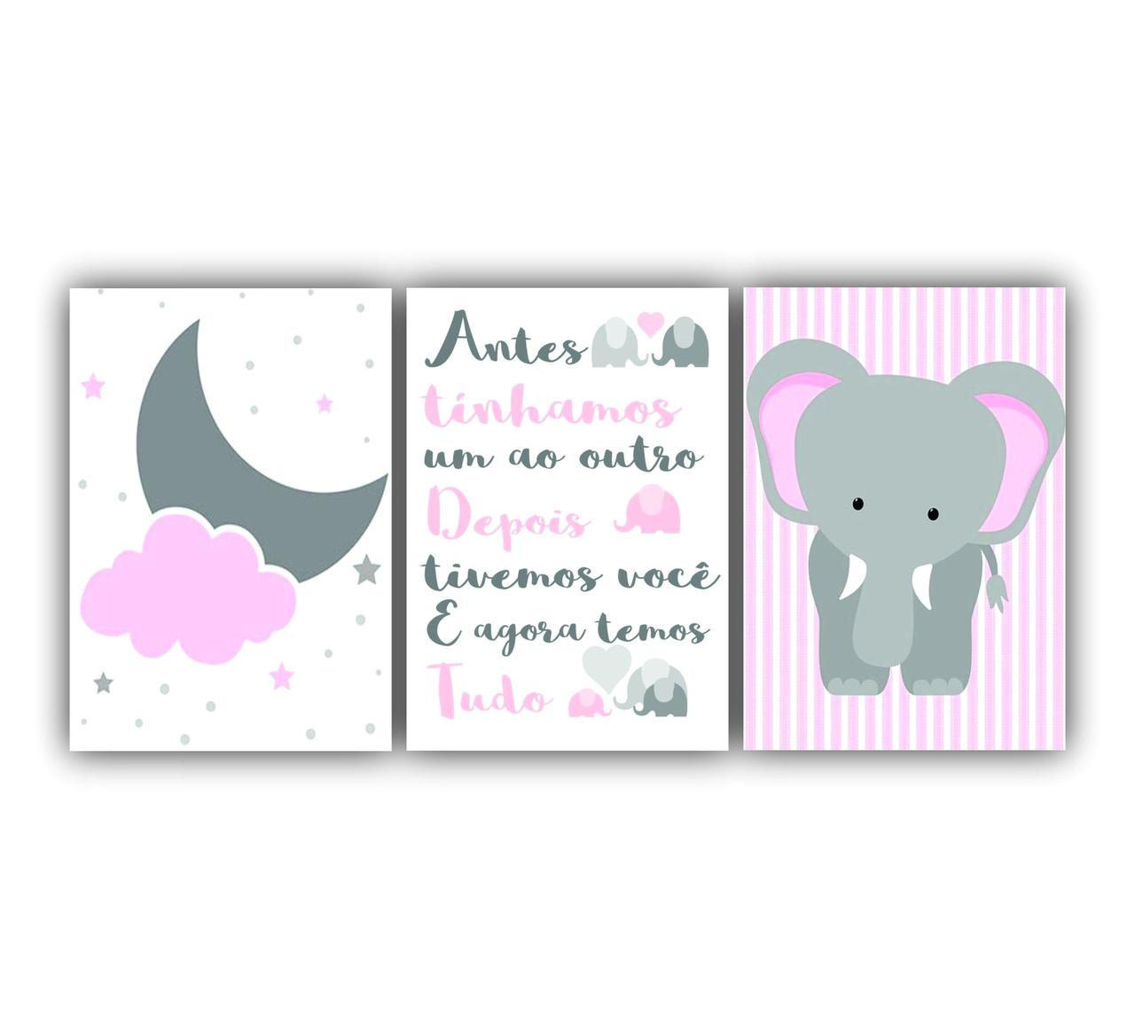 Quadro Decorativo Elefantinho e Lua Rosa e Cinza Meninas - Kit 3 telas