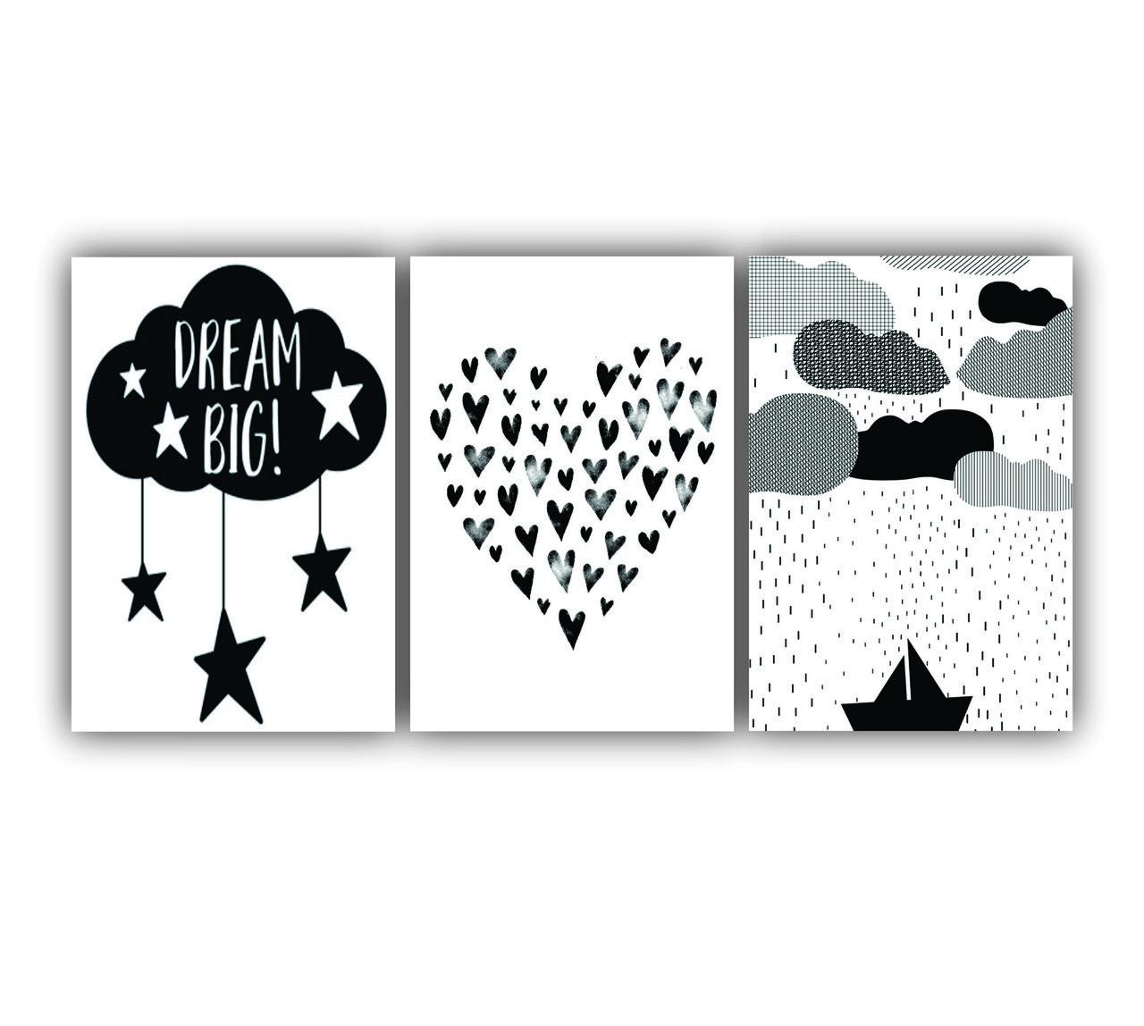 Quadro Decorativo Escandinavo Coração Nuvem e Barquinho - Kit 3 telas