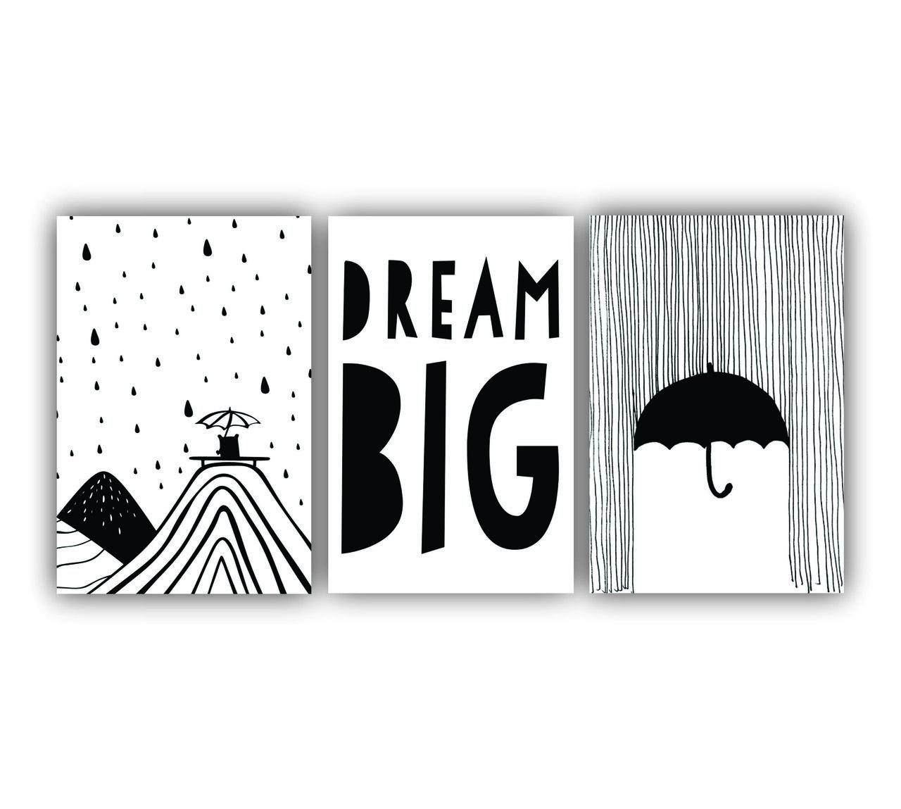 Quadro Decorativo Escandinavo Dream Big - Kit 3 telas