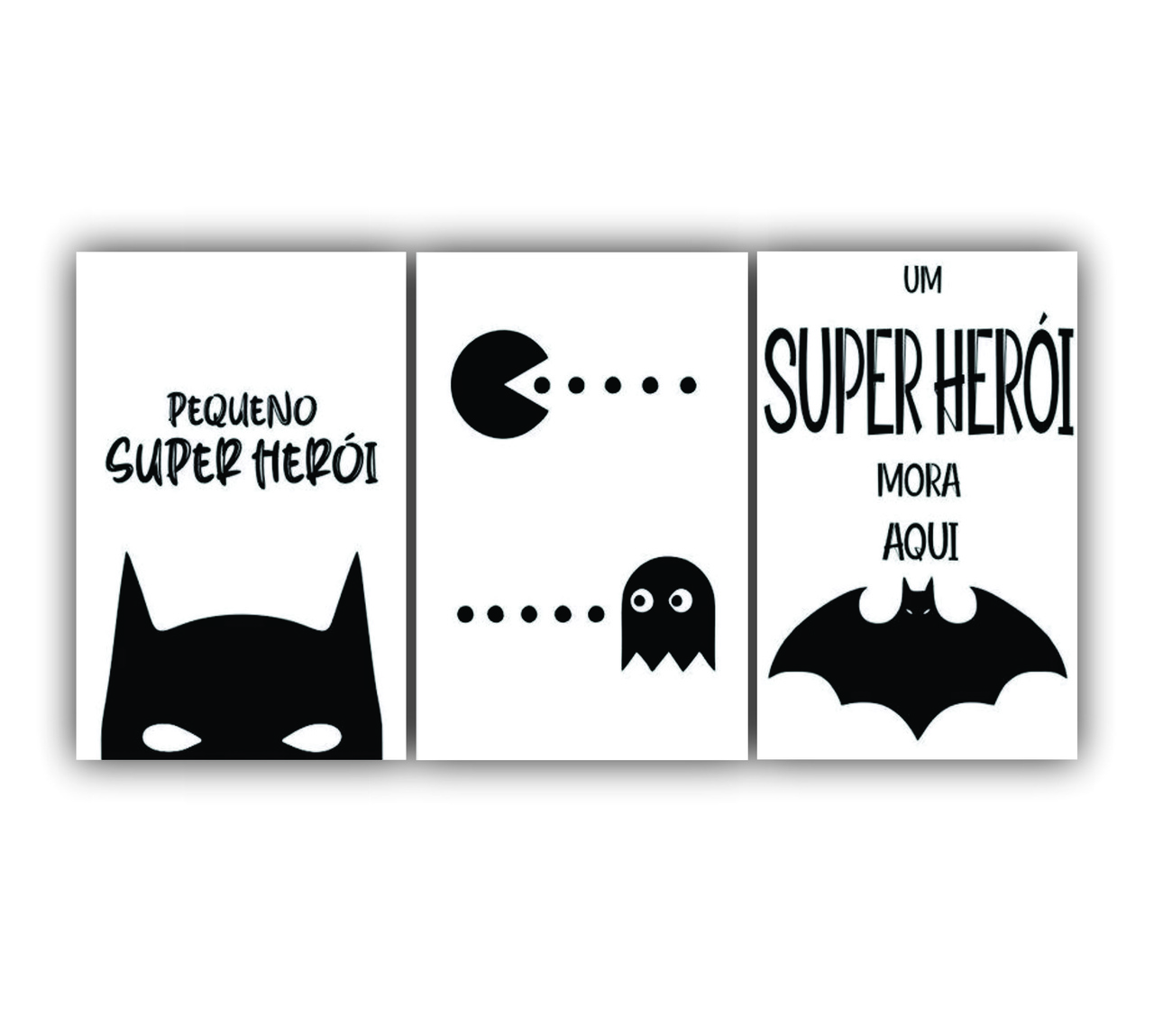 Quadro Decorativo Escandinavo Super Herói Cute - Kit 3 telas