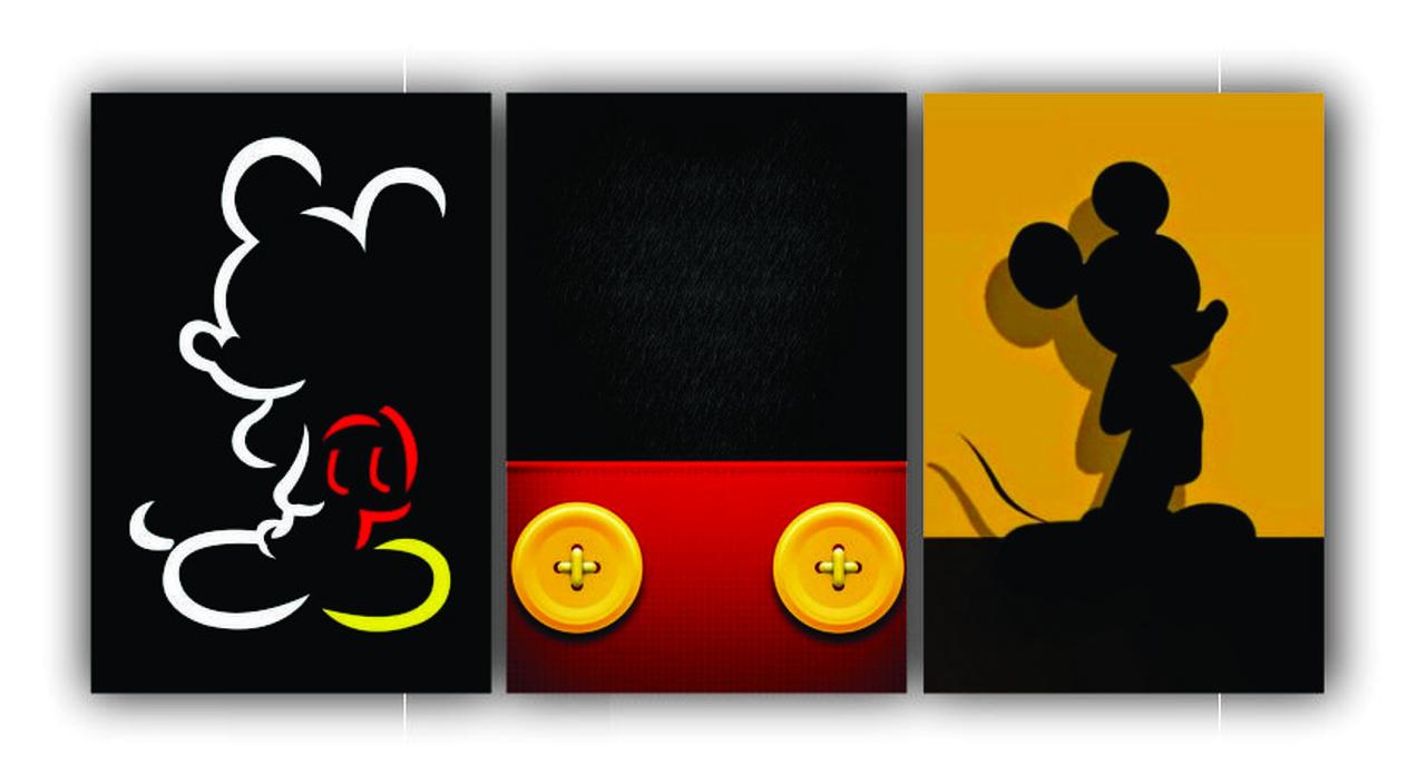 Quadro Decorativo Mickey Color Power - Kit 3 telas