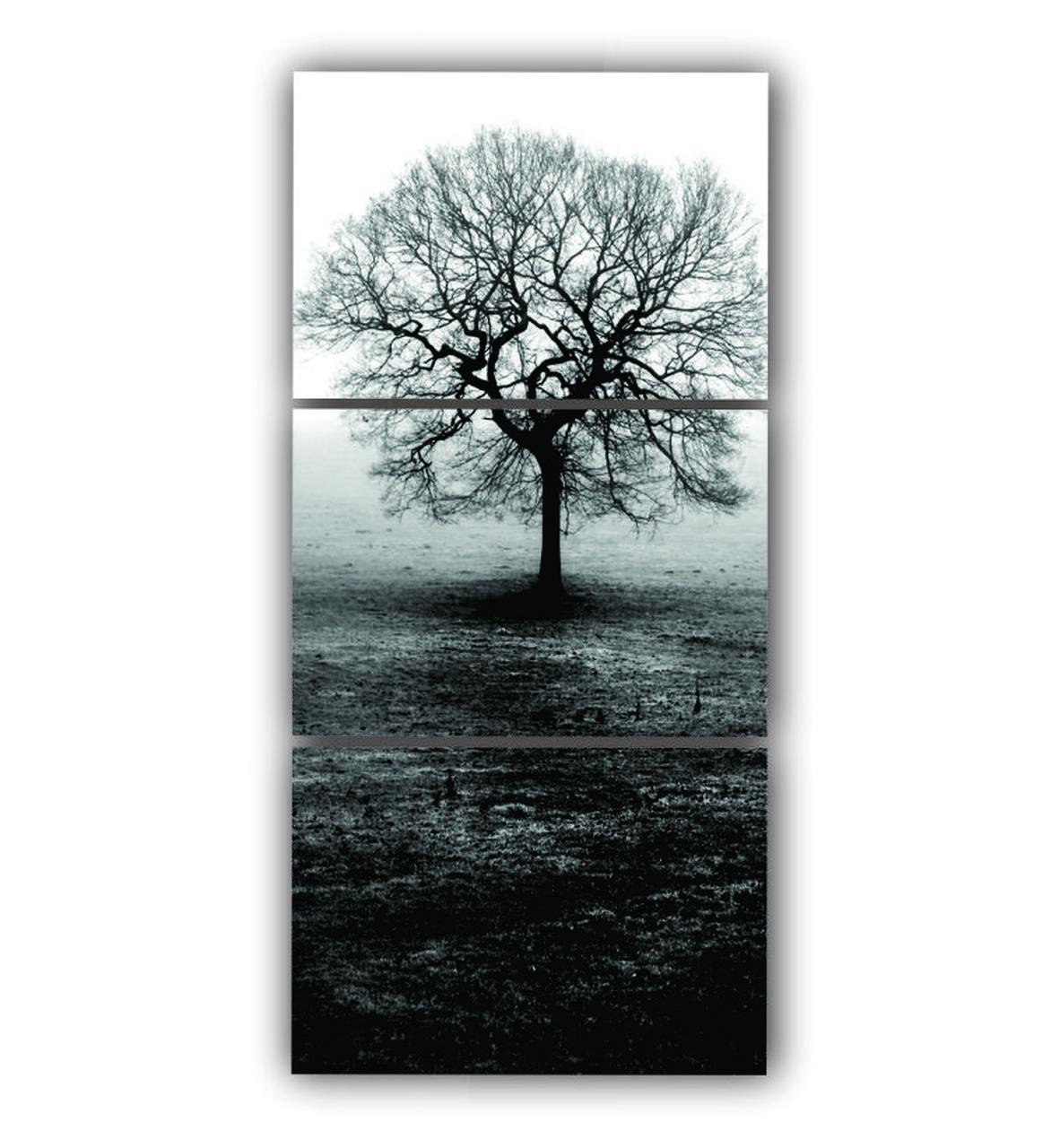 Quadro Decorativo Vertical Árvore Galhos e Folhas Secas  - Kit 3 telas